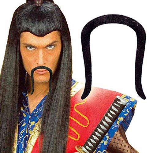 Chinesenbart China Bart klebend - schwarz Chinese Schnurrbart Asien Schnauzer Asia Moustache Faschingsbart Mongole Oberlippenbart