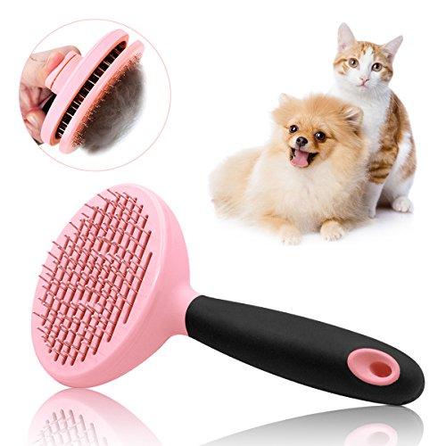 Hundebürste & Katzenbürste für Mittel- und Langhaar Softbürste Fellpflege Zupfbürste für Hunde und Katzen (Rosa)