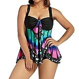 QUINTRA Damen Bikini Plus Größe Schmetterling Druck Tankini Bademode Badeanzug Badeanzug
