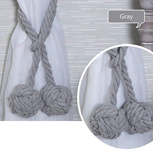 Hulday 2 Stück Vorhang Zugband Holdback Baumwoll Seil 140Cm Handstricken Vorhang Einfacher Stil Schnalle Binden Band Für Dekor Ländlichen Stil Natürliche Mode (Beige) (Color : Grau, Size : Size) -