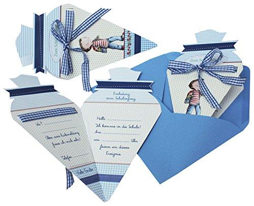 Roth Einladung Schulanfang Leni Paul Schultüte 4 Stück Blau