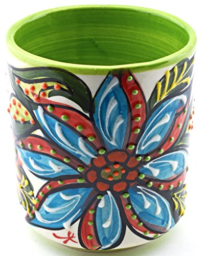 VERRE en céramique fait et peint à la main avec décoration fleur. 9 cm x 9 cm x 10,5 cm (VERT)