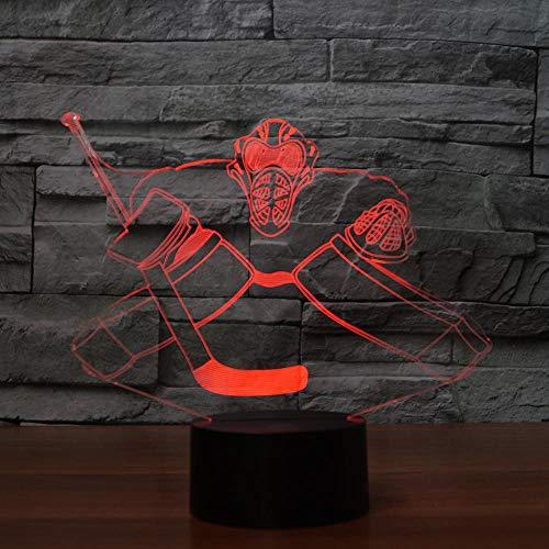 Yangll Neuheit Eishockey LED Nachtlicht 3D Bunte Visuelle Schreibtischlampe Wohnkultur Sport Fans Geschenke Schlafzimmer Junge Nachttischlampe