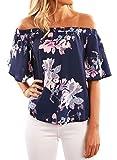 Nlife Frauen Sexy Ärmelloses Blumen Ärmelloses Hemd Tops Tanks Camis Camisole (XL, Floral-2)