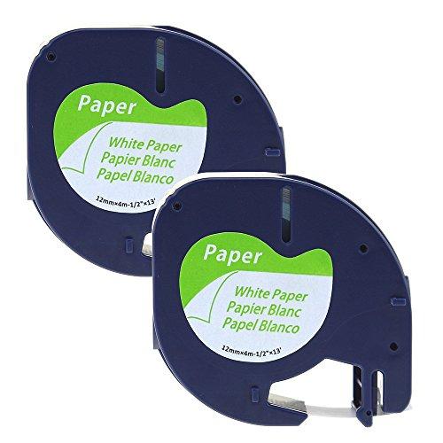 coLorty 2PK Etikettenband Papier Selbstklebend Kompatibel zu Dymo LetraTag 91220 / S0721520 Schwarz auf Weiß 12mm x 4m (2 Jahre Garantie)