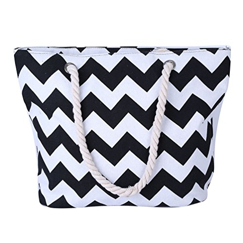 Yiuswoy Sommer Beach Handtasche Tasche Gestreift Badetasche Strandtasche Mit Reißverschluss Groß Damen Frauen Shopper Tote Bag - Schwarz (Schwarz Reißverschluss Tote)