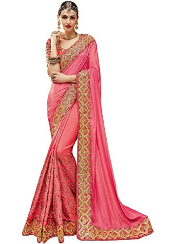 Magneitta Crepe Chiffon Saree With Blouse Piece (97031_Pink_Free Size)