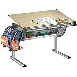 IDIMEX Bureau Enfant écolier Junior Mario Table à Dessin réglable en Hauteur et Plateau inclinable en MDF Couleur hêtre