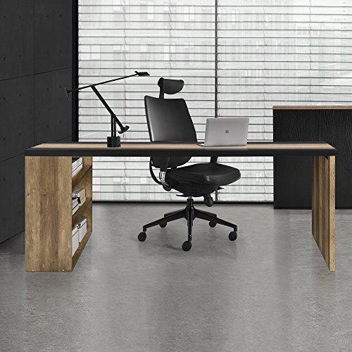 [en.casa] Schreibtisch mit 3 Ablagefächern - MDF, furniert - 180x78x77cm - Holzfarben/Schwarz - Arbeitstisch Computertisch