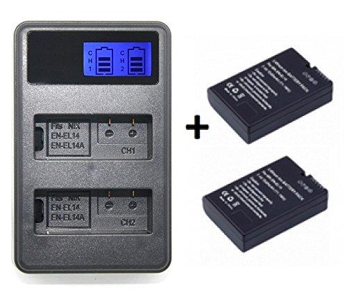 Theoutlettablet® Cargador externo + 2 Baterías EN-EL14 para camara reflex Nikon d5300 d5200 d5100 d3300 d3200 d3100 p7100 p7700 p7800 P7004 (pack Cargador + 2 baterías)