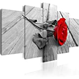 decomonkey Bilder Blumen Rose 200x100 cm XXL 5 Teilig Leinwandbilder Bild auf Leinwand Vlies Wandbild Kunstdruck Wanddeko Wand Wohnzimmer Wanddekoration Deko Natur rot grau