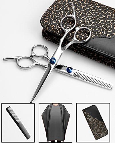 Tijeras para el cabello, PLUSINNO Tijeras de Peluquería Profesional 6.7 pulgadas + Peine + Barberos Cabo + Barber Cuello Cepillo + Estuche + Alfombra
