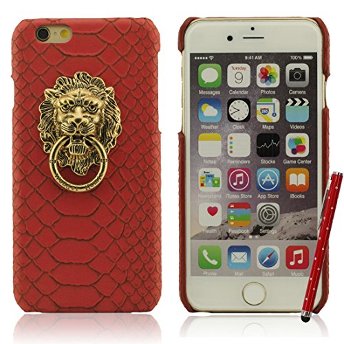 iPhone 7 Hülle Case Bumper Hart Kunststoff Gel Schutzhülle Kreativ Metall Löwenkopf / Ring Halter Dünn Licht Handyhülle für Apple iPhone 7 4.7 inch X 1 Stylus-Stift rot