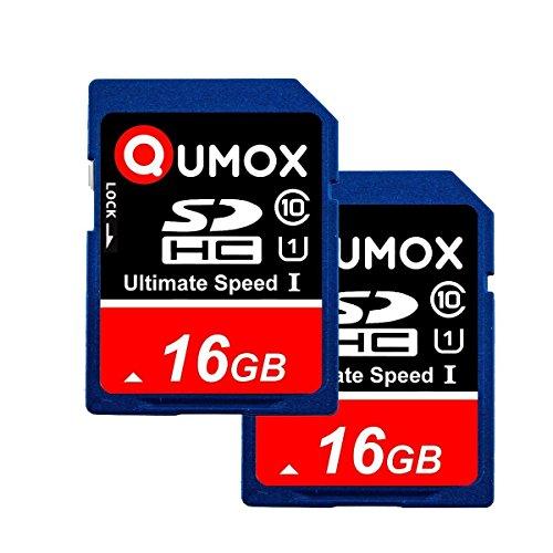 QUMOX 2pcs Confezione da 16 GB SD HC 16 GB SDHC Class 10 UHS-I Secure Digital scheda di memoria HighSpeed Write Speed15MB / s Velocità di lettura fino a 40MB / S