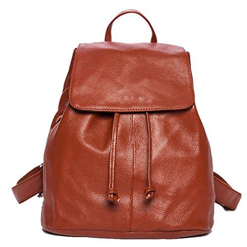 Keshi 2015 nouveau sac à dos sac d'épaule pour école hiking camping randonnée voyage etc cuir Marron