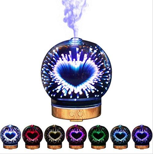 1-licht-acryl-diffusor (XH & YH Diffuser ätherisches Öl 3D Automatische Abschaltung Ultraschall Aroma Luftbefeuchter Nebel mit feuchtem 7Farbe Night Light Veränderung für Zuhause)