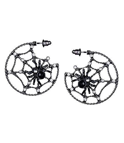 SIX Ohrringe: Auffällige offene Creolen mit einem Spinnennetz, Strasssteinen und einer Spinne, perfekter Ohrschmuck für Halloween, schwarz (732-978)
