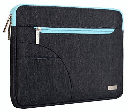 MOSISO Hülle Sleeve Tasche Kompatibel 15-15,6 Zoll MacBook Pro, Ultrabook Netbook Tablet Polyester Stoff Laptophülle Schutzhülle Laptoptasche Notebooktasche, Schwarz & Heißes Blau