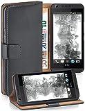 moex Booklet mit Flip Funktion [360 Grad Voll-Schutz] für HTC Desire 626G | Geldfach und Kartenfach + Stand-Funktion und Magnet-Verschluss, Dunkel-Grau