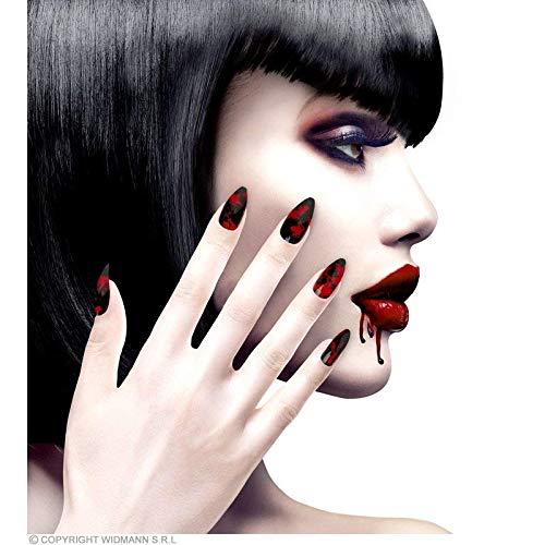 Lively Moments Kunstnägel schwarzes Blutbild selbstklebend / Fingernägel mit Blutflecken / Nagel Tips für Halloween