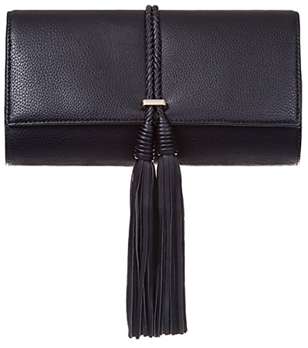 Designer UKFS Ladies Tassel Envelope Faux cuir Soirée nuptiale Pochette Noir