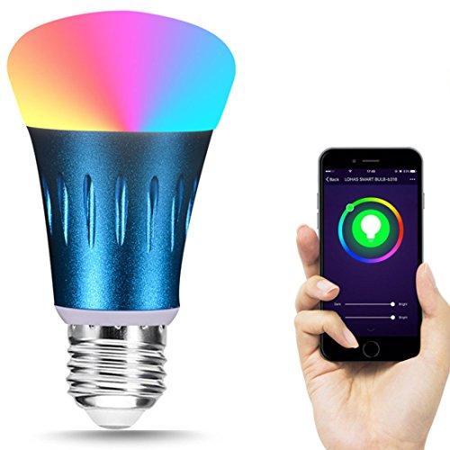 Wifi Smart Birne,jessie Mehrfarbige LED Dimmbare Glühbirne, Smartphone gesteuert Tageslicht Nachtlicht, arbeitet mit Amazon Alexa und Google Home Fernbedienung von IOS Android(E27) [Energieklasse A++] (E27,Blue)