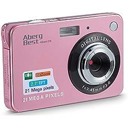 AbergBest Appareil Photo 2.7 LCD Rechargeable HD Digital Camera Caméra vidéo numérique pour Les étudiants, Les Enfants, Les Adultes (Or Rose)