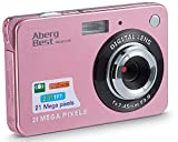 "AbergBest 21 Mega Pixels 2.7"" LCD Rechargeable HD Digital Video Students Cameras-Indoor Outdoor for Adult/Seniors/Kids (Rose Gold)"
