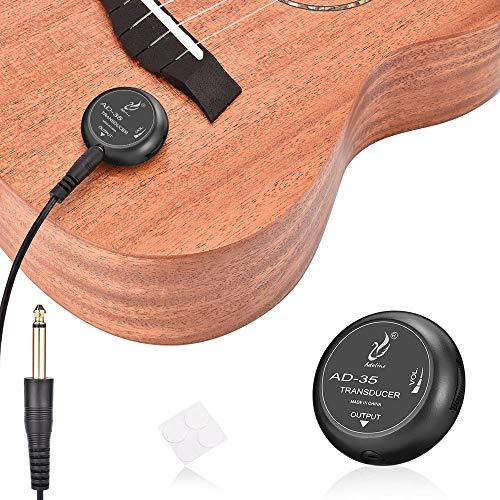 OTraki Pickup Piezo Contatto Microfono Trasduttore con 3m Cavo 6.35mm Controllo del Volume per Chitarra Classica Popolare Acustica Violino Ukulele Mandolino Banjo Violoncello Kalimba Drum (AD-35)