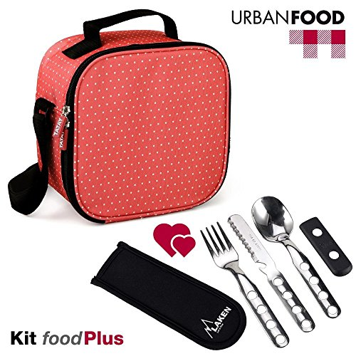 TATAY Kit Urban Food Dots Rojo con Cubiertos - Bolsa Térmica Porta Alimentos con Tapers Herméticos