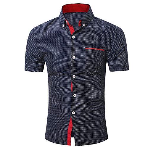 JiaMeng Herren Casual Kurzarmhemd Business Slim Hemd Dot Print Bluse Top