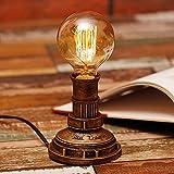 Industrielle Retro-Tischlampe Mode Amerikanische kreative Persönlichkeit Edison Harz Rohr Lampe Schlafzimmer Wohnzimmer Leseschreibtisch Lernen energiesparende Schreibtisch Lampe ( Farbe : Gold )