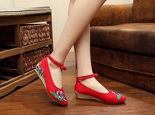 Gxs Linho Longa Étnico Finamente Bordados Sapatas Moda Feminina De Confortáveis Lona Aumento Estilo Sapatos Vermelhas Roxo Único Sdn4qdgw