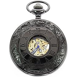 itemstoday Classic römischen Ziffern Herren Retro Mechanische Taschenuhr mit Kette