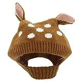 YOPINDO bebé sombrero de invierno de la niña caliente suave tejer lana Earflap Crochet Animal Beanie Cap (marrón)