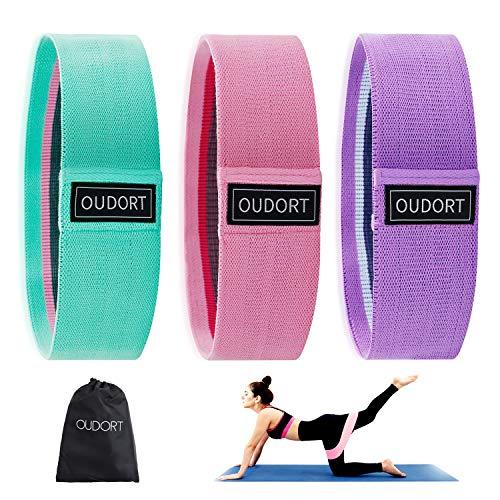 oudort bande elastiche elastici fitness 3 set, fitness fasce di resistenzaper gambe e butt,elastica fasce resistenza per yoga, pilates, per fitness yoga, pilates, physiotherapy