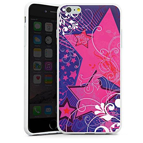 Apple iPhone X Silikon Hülle Case Schutzhülle Muster Sterne Blumen Silikon Case weiß