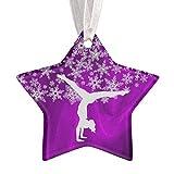 Christmas Ornaments Silver Snowflake Gymnast on Purple Ornament