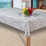 laro Wachstuch-Tischdecke Wachstischdecke Tischwäsche Abwaschbar Meterware Wachstuchdecke G04, Muster:Blumen grau-Weiss, Größe:100x140 cm