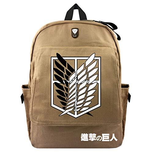 Cosstars Attack on Titan Anime Canvas Backpack Rucksack Reisetasche Schultasche des Schülers Jungen Mädchen /2 (Mikasa Figur)