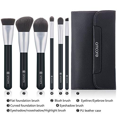 Makeup Brushes with Case, amoore 6Pcs Make up Brush Set�Foundation Brush Eyeshadow Brush Travel Set (6 Pcs, Dark Grey)