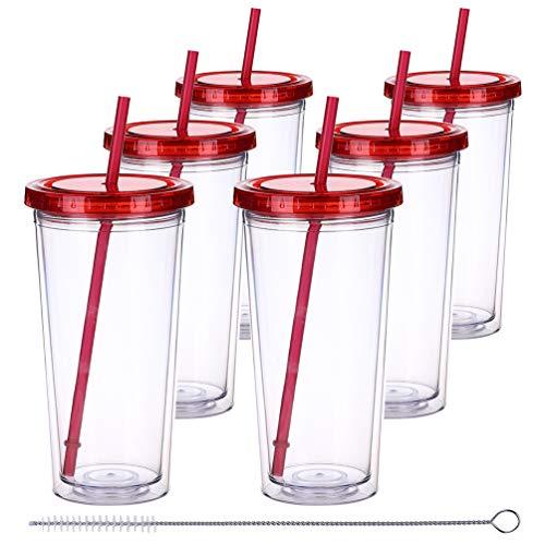 Deckel und Strohhalmen, doppelwandig, Kunststoff, Wiederverwendbare Becher, isoliert, Trinkflaschen, BPA-frei, Wasserbecher-Set 22oz red(6 * 22oz) ()