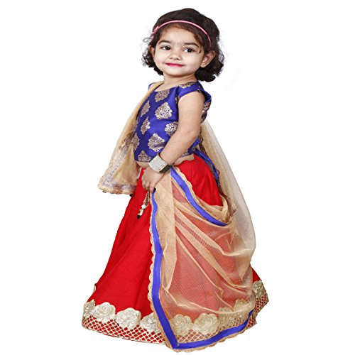 NAJARA FASHION Girl's Silk Lehenga Choli Set (Dark Red_4-5 Years)