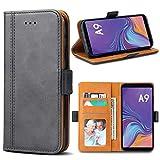 Bozon Galaxy A9 2018 Hülle, Leder Tasche Handyhülle für Samsung Galaxy A9 (2018) Schutzhülle Flip Wallet mit Ständer & Kartenfächer/Magnetverschluss (Dunkel-Grau)