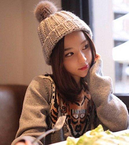 Corée Loisirs Sauvage épaississement Gardez Chapeau Chaud Chapeau D'hiver Chinoise Version Coréenne Chapeau Belle Boule Chapeau Hiver Chapeau Hiver ( couleur : A ) D