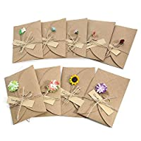 Wolintek 9 Pcs Greeting Card, Handmade Retro Kraft Paper, Blank Envelopes, Dried Flowers Decorated Postcard for Special Person and Important Occasion
