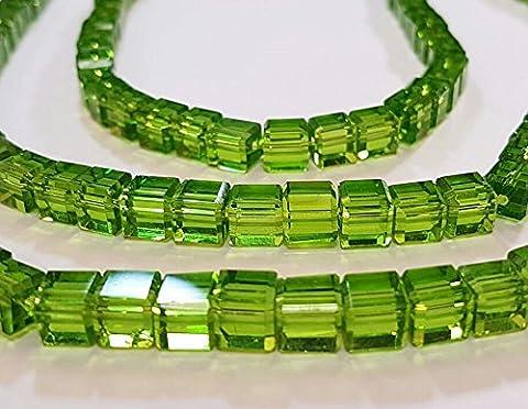 20 TSCHECHISCHE KRISTALL Böhmische Glasperlen 6mm Grün Glasschliff Kristall Schmuckperlen