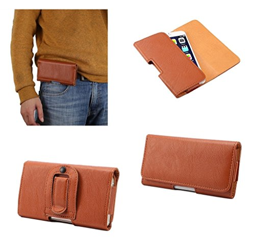 DFV mobile - Case synthetic leather horizontal belt clip for => NOKIA LUMIA 635 > Brown (Clip Für 635 Nokia)