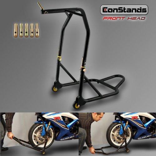 ConStands - Motorrad Lenkkopf-Montageständer Vorne Standard Frontheber Schwarz inkl. Adapter Set