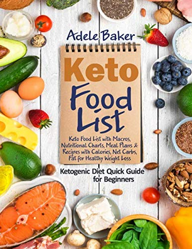 Keto Food List: Ketogenic Diet Quick Guide for Beginners: Keto Food List with Macros Nutritional Charts Meal Plans & Recipes with Calories Net Carbs Fat for Healthy Weight Loss
